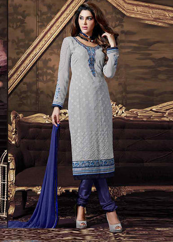 BRILLIANT GRAY GEORGETTE SEMI-STITCHED DESIGNER SALWAR SUIT