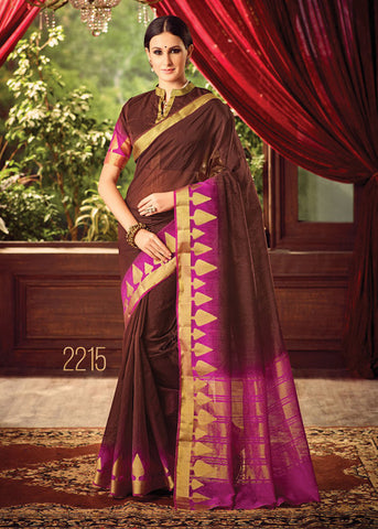 CLASSY BROWN SILK SAREE ONLINE FOR WOMEN