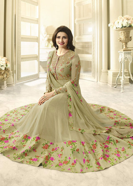 CHIKOO GEORGETTE LATEST DESIGNER ANARKALI SUIT ONLINE