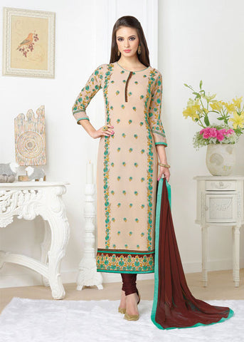 BUY CREAM GEORGETTE DESIGNER SALWAR KAMEEZ ONLINE - BEST PRICE