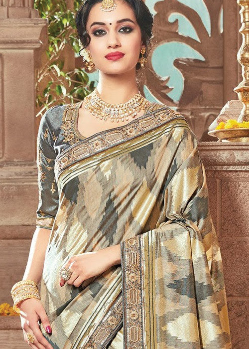 GENUINE CREAM & GRAY IKKAT SILK SAREE ONLINE - SALE ONLINE