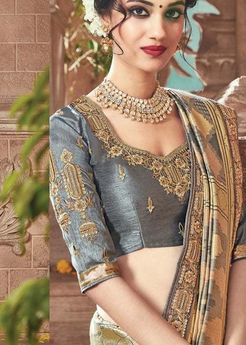 GENUINE CREAM & GRAY IKKAT SILK SAREE ONLINE - FREE SHIPPING WORLDWIDE