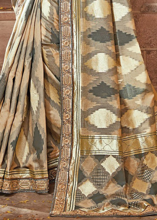GENUINE CREAM & GRAY IKKAT SILK SAREE ONLINE - BEST PRICE