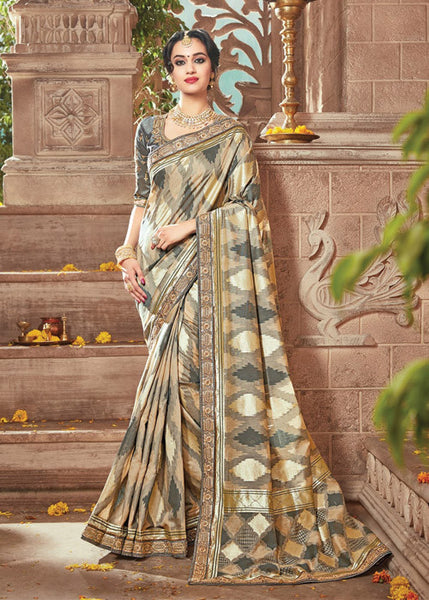 GENUINE CREAM & GRAY IKKAT SILK SAREE ONLINE