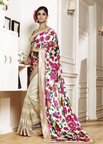 CREAM NET SILK GEORGETTE SAREE - INDIAN SARI ONLINE