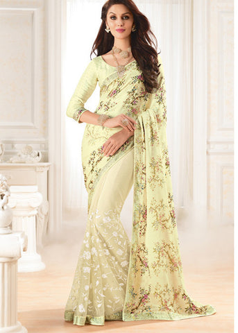 STONE WORKED CREAM SATIN SAREES FOR WOMEN ONLINE AT BEST PRICE