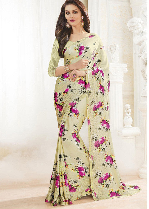 CREAM SATIN SAREE with print work