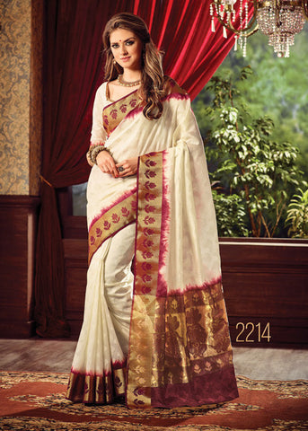 CREAM SILK SAREE ONLINE FOR WOMEN
