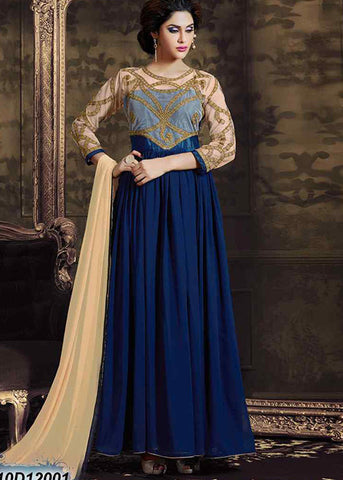 NAVY BLUE GEORGETTE SEMI-STITCHED ANARKALI SUIT ONLINE