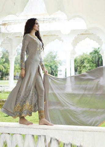 EMBROIDERED GRAY GEORGETTE SALWAR KAMEEZ DRESS ONLINE