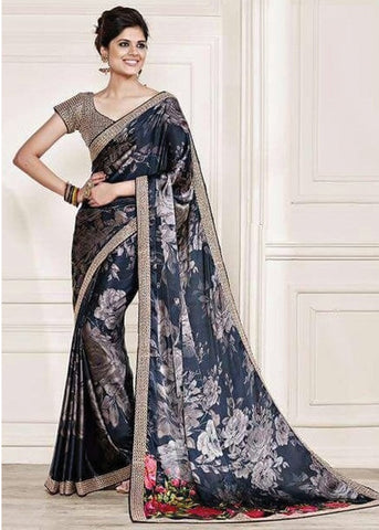 GRAY NET SILK GEORGETTE SAREE - INDIAN SARI ONLINE