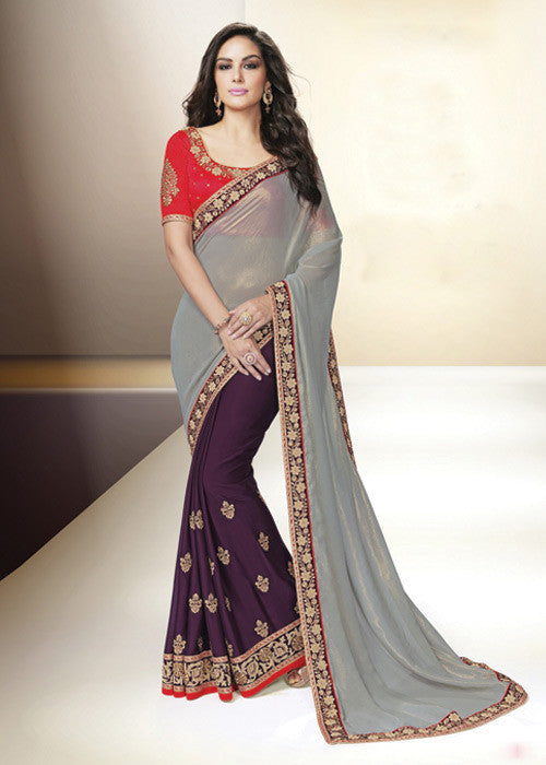 GRAY & PURPLE GEORGETTE CHIFFON INDIAN LATEST SAREE ONLINE