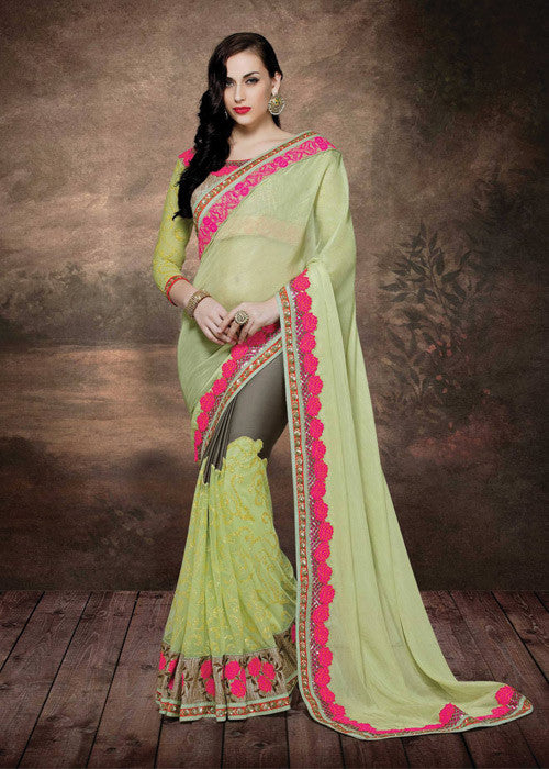 GREEN & BLACK MULTI FABRICS WOMEN SAREE - NEW DESIGN