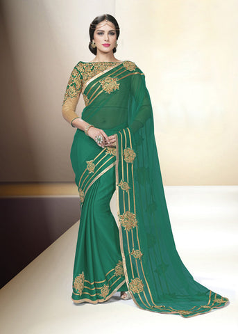 GREEN CHIFFON NET INDIAN LATEST PARTY SAREE