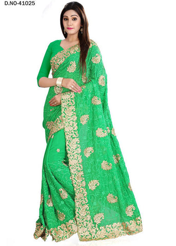 GREEN ART SILK SAREE WITH EMBROIDERY WORK ONLINE - HOT DEAL - LOW PRICE