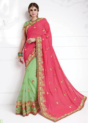 GREEN & PINK GEORGETTE NET SAREE - WOMENS PARTY SAREE ONLINE
