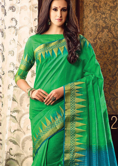 GREEN SILK SAREE ONLINE FOR WOMEN