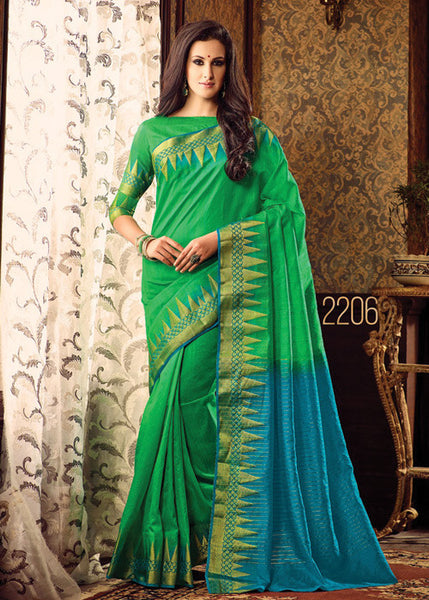 CHARMING GREEN SILK SAREE ONLINE FOR WOMEN