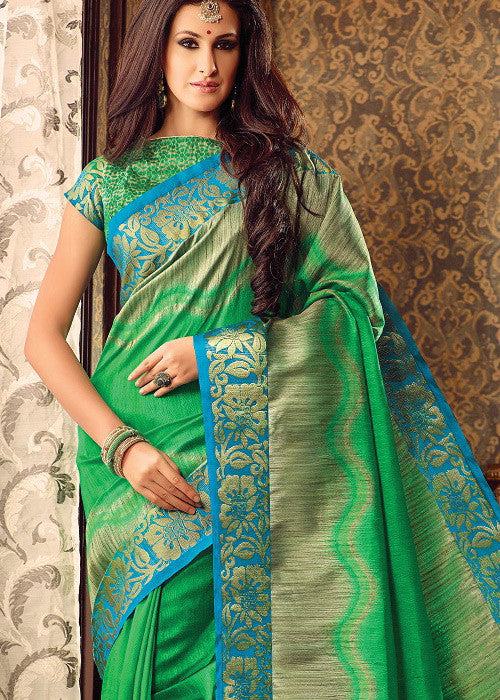 GORGEOUS GREEN SILK SAREE ONLINE FOR WOMEN