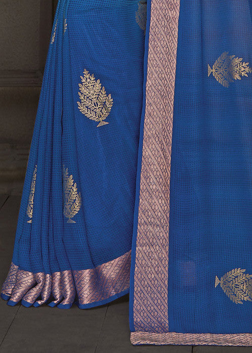 BLUE GEORGETTE INDIAN SAREE