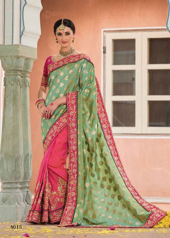 GREEN & PINK JACQUARD SAREE ON SALE