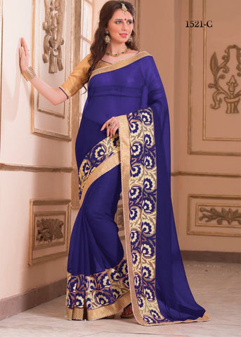 BLUE GEORGETTE PLAIN SAREE