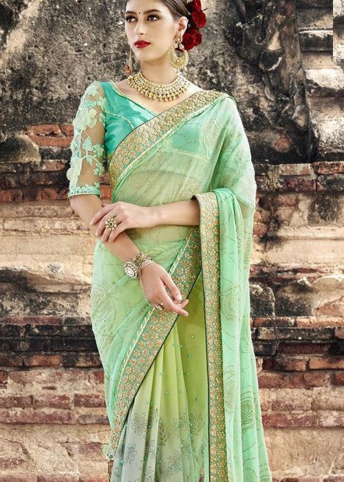LIGHT GREEN PARTY WEAR GEORGETTE SAREES ONLINE USA CANADA FREE SHIPPING