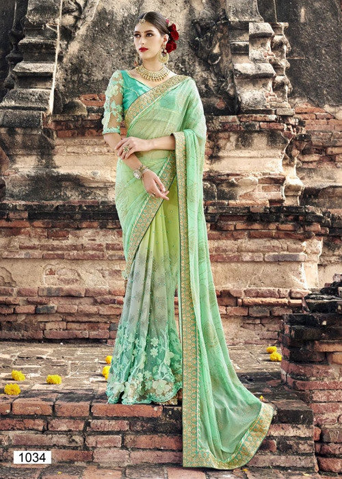 LIGHT GREEN GEORGETTE NET SAREE PARTY WEAR ONLINE AT LOW PRICE