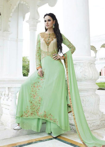 EMBROIDERED LIGHT GREEN GEORGETTE SALWAR KAMEEZ DRESS ONLINE