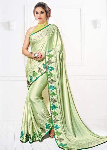 ADMIRABLE LIGHT GREEN SILK PLAIN SAREE ONLINE - FREE SHIPPING USA
