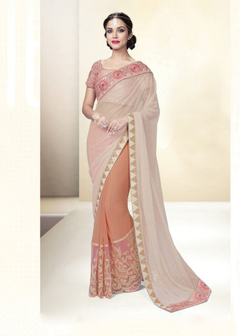 LIGHT PEACH & BEIGE LYCRA CHIFFON INDIAN LATEST PARTY SAREE