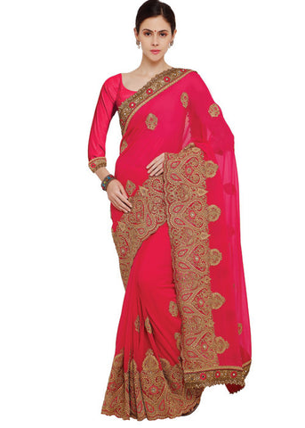ANGELIC MAGENTA ART SILK SAREE ONLINE - HIGH QUALITY