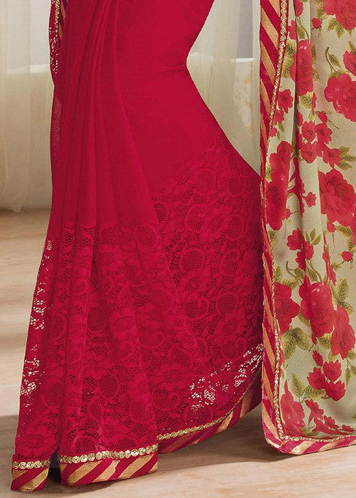 Red Chiffon Saree with embroidery work & floral print