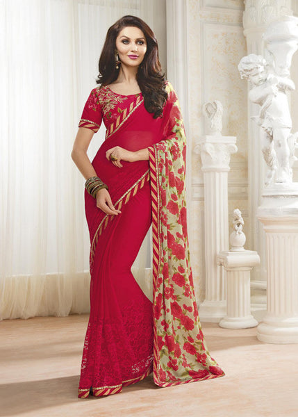 EMBROIDERED RED SATIN CHIFFON SAREE PARTY WEAR - BEST PRICE