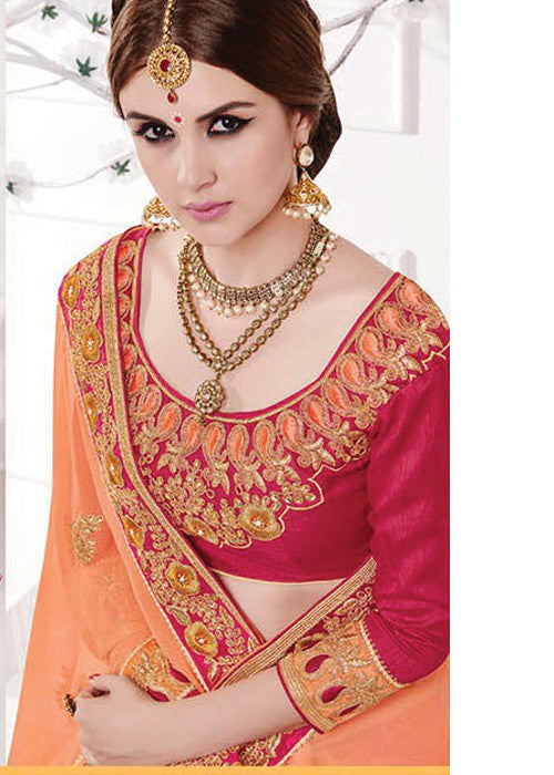 MAGENTA & PEACH GEORGETTE SILK SAREE - NEW SAREE ONLINE