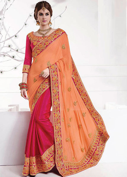 GORGEOUS MAGENTA & PEACH GEORGETTE SILK SAREE - NEW SAREE ONLINE