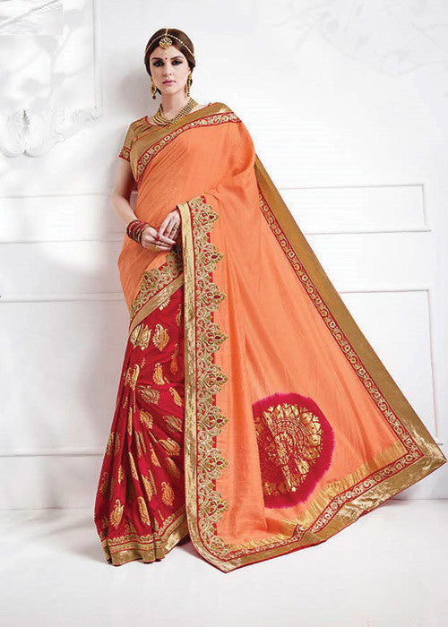 MAGENTA & PEACH PURE SILK JACQUARD SAREE - WOMENS PARTY SAREE ONLINE