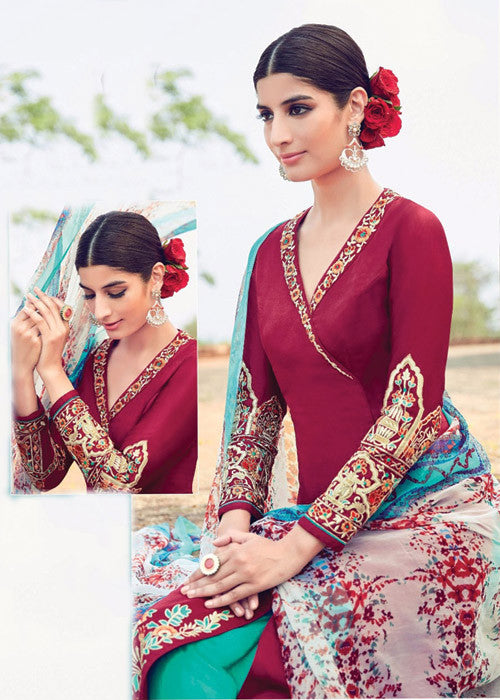 BUY MAGENTA PURE SOFT COTTON SATIN READYMADE SALWAR KAMEEZ SUIT ONLINE FREE SHIPPING USA CANADA