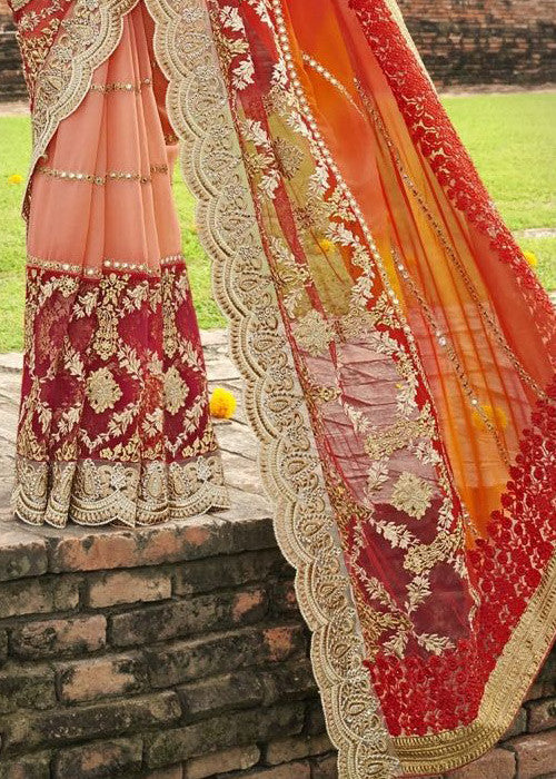 MAROON & PEACH GEORGETTE NET SAREE WITH EMBROIDERY BORDER - BEST SARIS ONLINE FOR WOMEN