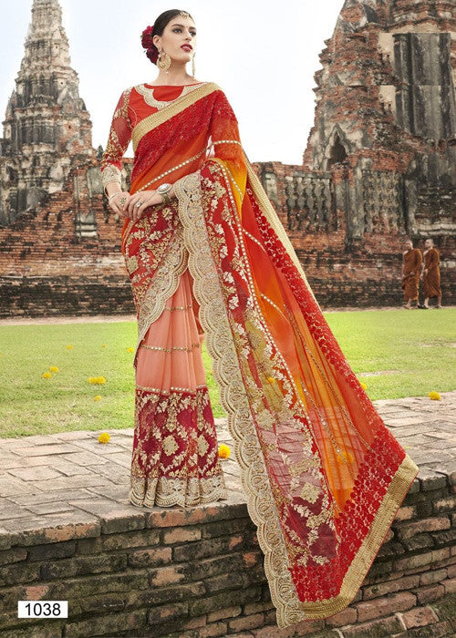MAROON & PEACH GEORGETTE SAREE - HEAVY EMBROIDERY BORDER