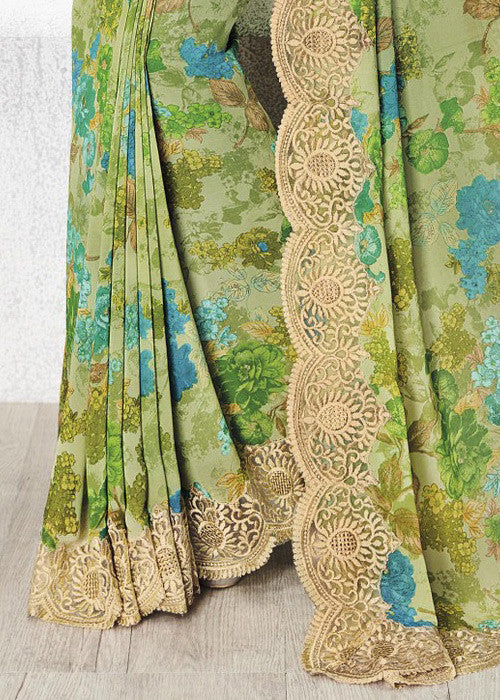 MAGNIFICENT MULTICOLOR GEORGETTE FLORAL PRINT SAREE ONLINE FREE SHIPPING USA CANADA
