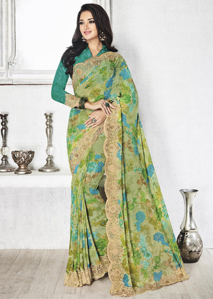 MAGNIFICENT MULTICOLOR GEORGETTE FLORAL PRINT SAREE