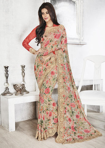 PRECIOUS MULTICOLOR GEORGETTE FLORAL PRINT SAREE - ONLINE WITH FREE SHIPPING USA CANADA