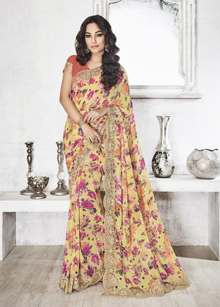 MULTICOLOR GEORGETTE FLORAL PRINT SAREE ONLINE WITH LACE BORDER