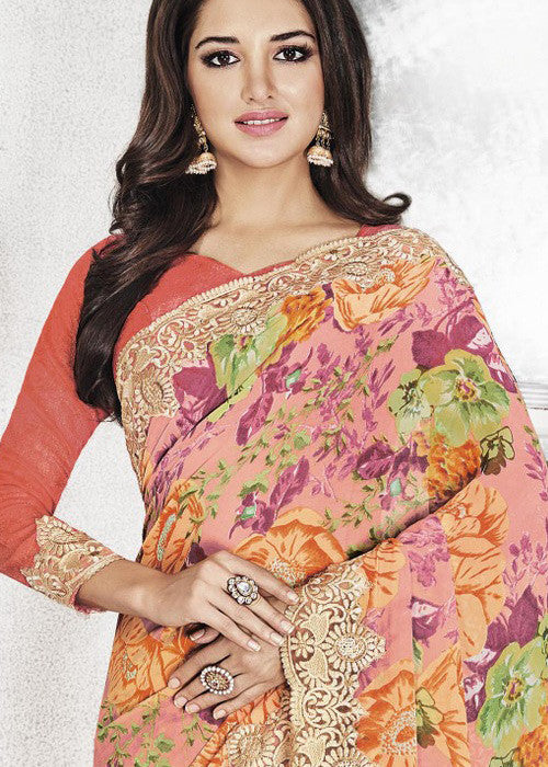 BUY MULTICOLOR GEORGETTE FLORAL PRINT SAREE ONLINE FOR WOMEN ONLINE
