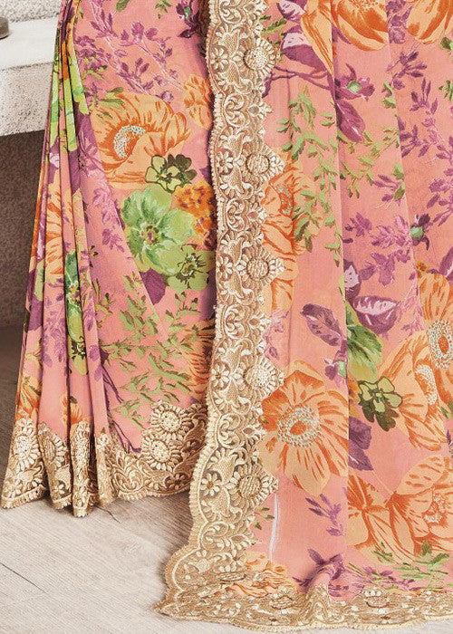 BUY MULTICOLOR GEORGETTE FLORAL PRINT SAREES ONLINE FOR WOMEN