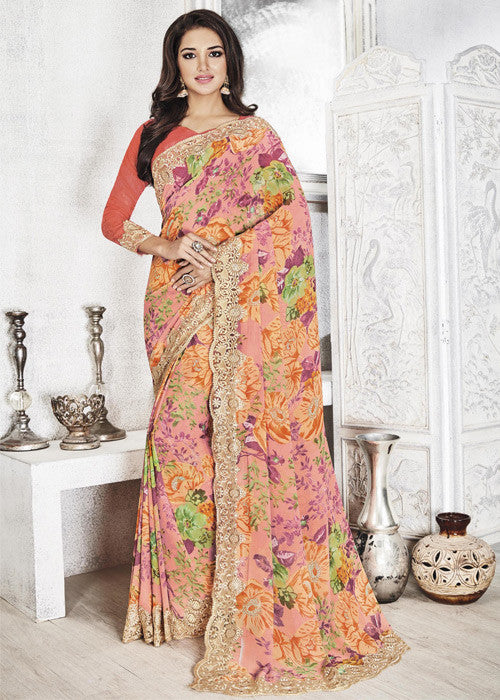 BUY MULTICOLOR GEORGETTE FLORAL PRINT SAREE ONLINE FOR WOMEN