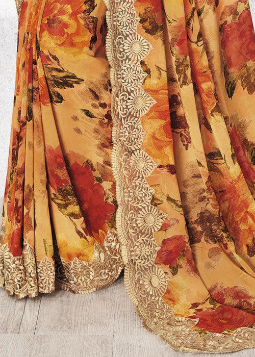 Multicolor Latest Floral Print Designer Sarees for Women Online with Lace Border