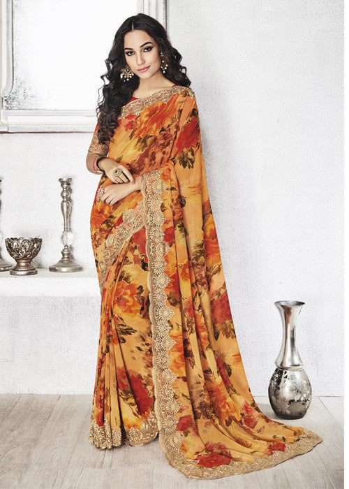 Multicolor Floral Print Sarees for Women Online Shopping