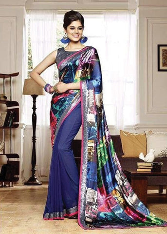 MULTICOLOR NET SILK GEORGETTE SAREE - INDIAN SARI ONLINE